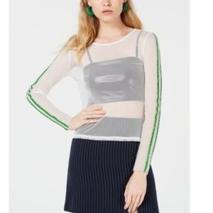 Project 28 NYC White Mesh Striped Sleeve Top